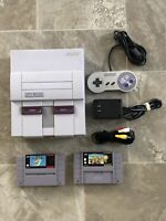 Super Nintendo SNS-001 Console Bundle w/ Cords Controller Mario Kart & World!