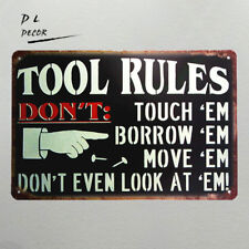 DL- TOOL RULES vintage metal sign man cave garage wall sticker modern wall art