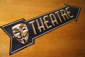 Theatre Arrow Sign Theater Stage Play Drama Masks Home Decor Sign NEW