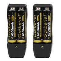 4pcs 18650 3.7V 6000mAh Flashlight Li-ion Rechargeable Battery +2x Dual Charger!