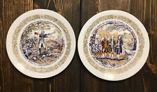 Limoges Haute Vienne Vintage #998 & 431 Revolutionary War Lafayette Set 2 Plates