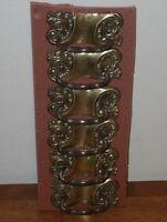 4x Reclaimed Antique 19th Century Handmade Drawer Handles, Brass, Floral Motif