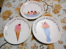 Pottery Barn Ice Cream Plates Lot of 3, Cone, Float, Banana Split, Desert Salad
