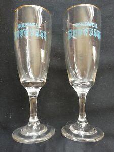 Retro Barware Snowball Glasses Flutes Goldwell Advertising Pair