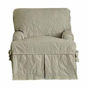 Matelasse Damask One Piece box cushion T- Chair Slipcover Linen tan gray