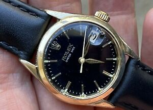 1950's ROLEX OYSTERDATE REF.  6466 MANUAL WIND BLACK DIAL GOLD CAPPED WORKING