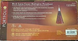 Portfolio Red Lava Cone Halogen Pendant 120886 P567RD - New In Original Box