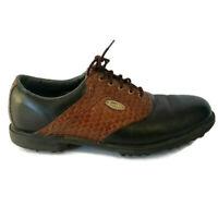 FootJoy eComfort Soft Spike Golf Shoes Mens 10.5 Black Brown Woven Saddle 57812