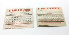 2 Antique Vintage 1950's Bally Miami Beach Bingo Pinball Six Card Score Cards