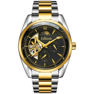 Men's Automatic Edison Watch with Moon face Silver & Gold stainless steel strap