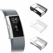 (3 Pack) for Fitbit Charge 2 Screen Protector Soft Plated Case Full-Around Cover