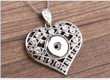 NEW Heart Crystal Alloy Pendant for Fit Noosa Necklace Snap Chunk Button #R10