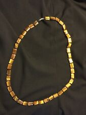 """Tiger Eye Necklace with Square Stone Beads 35"""""""