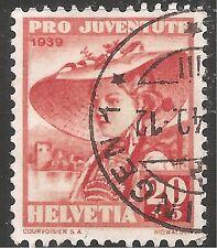 Switzerland Semi-Postal Stamp - Scott #B98/SP95 20c + 5c Orange Red Canc/LH 1939
