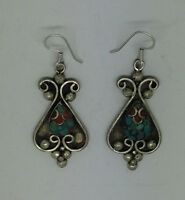 Asian sterling silver earrings handmade ethnic hook classic tops turquoise ERU2
