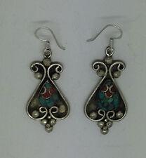 Asian sterling silver earrings handmade ethnic hook classic tops turquoise ERU2