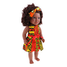 45cm Lifelike Baby Doll African Little Girl Doll Newborn Dolls With Jumpsuit