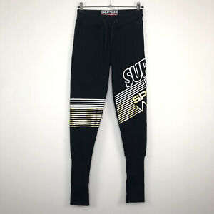 Womens SUPERDRY SPORTS Casual Actiwear Black Gold Trousers Pants UK 8