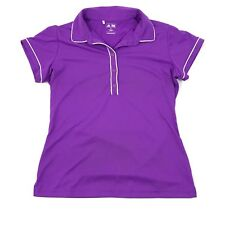 NEW Adidas Golf Womens Deep-V Polo Purple Short Sleeve White Piping Breathable