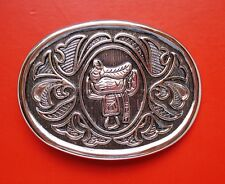Vintage AVON Oval Belt Buckle Western Design of a Horse Saddle Silver Tone