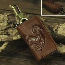 PU Leather Fashion Retro Brown Car Key Case / Bag Keychain zipper bag 9 x 5.5cm
