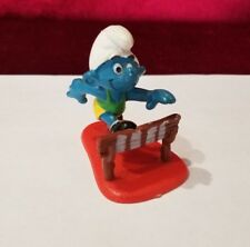 Vintage 1980 Schliech Peyo Smurf Track Runner With Stand and Hurdle