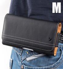 for LG Phones - HORIZONTAL BLACK Leather Pouch Card Holder Belt Clip Loop Case