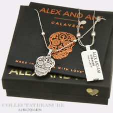 Authentic Alex and Ani Calavera Rafaelian Silver Expandable Charm Necklace