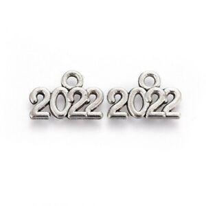 10x Tibetan Silver 2022  year Charm Pendant Jewellery Making