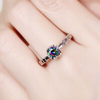 Exquisite 925 silver Women fashion jewelry rainbow white topaz gemstone Ring