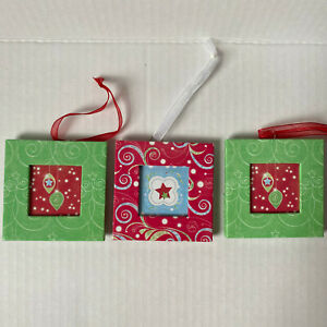 Creative Memories Mini Frame Christmas Tree Ornament Red Green Set of 3