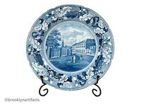Antique Staffordshire Historical Blue Transfer Decorated Park Theater NY Plate