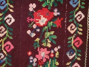 Antique Bulgarian traditional Hand embroidery kilim with floral motives