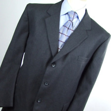 Mens Grey Suit 44/43 Regular Trefor Jones Single Breasted Wool Pinstriped