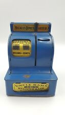 Vintage Uncle Sam 3 Coin Toy Metal Cash Register Bank Blue 1950'S  Made In USA