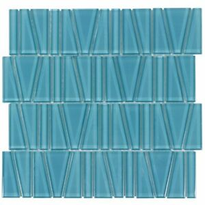 Modern Trapezoid Turquoise Glossy Glass Mosaic Tile MTO0162