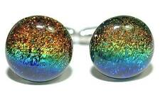 "5/8"" MULTI COLORED FUSED GLASS CUFF LINKS (222)"