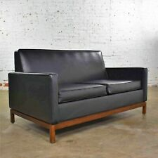 Mid Century Modern Black Faux Leather Love Seat Sofa by Taylor Chair Co. Style D