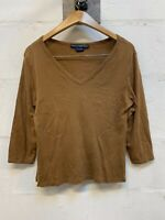 "Women's Ralph Lauren Sport Top Long Sleeved T-shirt Top Brown Large L (42"" Chest"