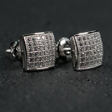 Mens 925 Sterling Silver Iced Small Micro Pave Stud Screw Back Hip Hop Earrings