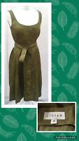 Jigsaw Olive Green Silk Textured Dress Size 10 Scoop Neck 1950's Fit N Flare