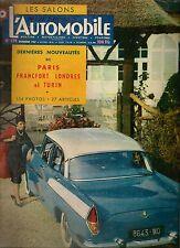L'AUTOMOBILE 139 1957 SALON PARIS FRANCFORT TURIN LONDRES VESPA 400 DE DION BOUT