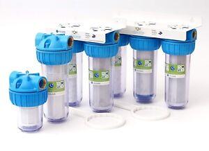 """10"""" 5"""" Wasserfilter Vorfilter System Hauswasser Zisterne Brunnen Pumpe 1"""" Zoll"""