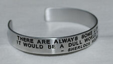 Quote By: ~ Sherlock Holmes ~ / Engraved, Hand Polished Bracelet,Gift Bag