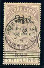 Sierra Leone 1897 QV 2½d on 1s dull lilac (SG Type 13 surch) VFU. SG 66b. Sc 59A
