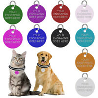 Engraved Pet Tags Personalised Dog Cat Charm Round Name Collar Animal ID Disc UK