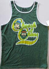 NWT Cheech & Chong Graphic Sleeveless Muscle Tank Top T Shirt Green/White Large