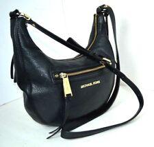 AUTHENTIC MICHAEL KORS Black Genuine Leather Hobo Shoulder Bag Handbag Excellent