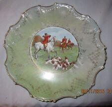 "Empire China #4052 10 1/2"" Collectors Plate Fox Hunting Scene Gold Trim Green"