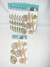 Wall Art Self Adhesive Decals Sea Shells Washable Fade Resistant Lot of 7 New